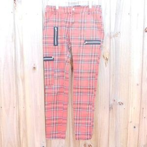 Royal Bones Hot Topic Red Plaid  Sz 30 Pants
